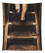 Legs Of A Bushwalking Man Climbing Wooden Stairs Tapestry