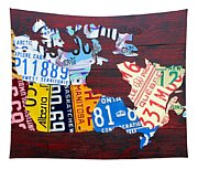 License Plate Map Of Canada Tapestry