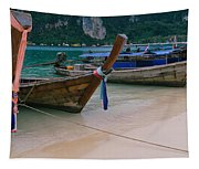 Longtail Boats Moored On The Beach Tapestry