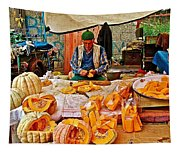 Man Peeling Squash In Antalya Street Market-turkey Tapestry