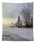 Marblehead Lighthouse Winter Sunrise Tapestry