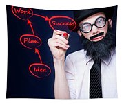 Marketing Business Man Drawing Success Diagram Tapestry