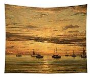 Mesdag's Sunset At Scheveningen -- A Fleet Of Shipping Vessels At Anchor Tapestry