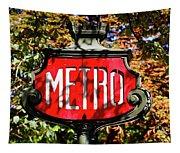 Metro Sign, Paris, France Tapestry