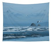 Misty Copalis Rock And Gulls Tapestry