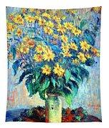 Monet's Jerusalem  Artichoke Flowers Tapestry
