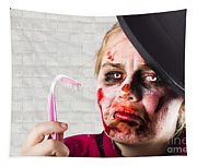 Monster Holding Sad Toothbrush. Rotting Teeth Tapestry