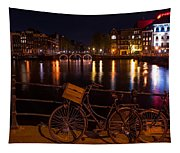 Night Lights On The Amsterdam Canals. Holland Tapestry