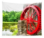 Old Grist Mill Vermont Red Water Wheel Tapestry