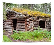 Old Traditional Log Cabin Rotting In Yukon Taiga Tapestry