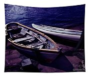 Old Wooden Boats At Night Tapestry