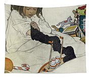 Opening The Christmas Stocking Tapestry