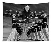 Over The Marine Corps Silent Drill Platoon Tapestry