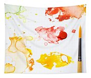 Paint Splatters And Paint Brush Tapestry