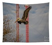 Pelican In Flight Tapestry