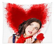Photo Of Romantic Woman Holding Heart Shape Candy Tapestry