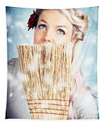 Pin-up Woman Cleaning Up In Cold Blue Winter Snow Tapestry