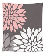 Pink Grey White Peony Flowers Tapestry
