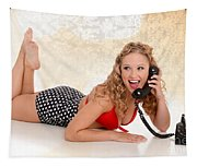 Pinup Girl On The Phone Tapestry