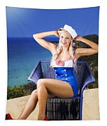 Pinup Woman On A Tropical Beach Travel Tour Tapestry