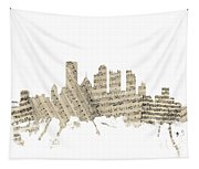 Pittsburgh Pennsylvania Skyline Sheet Music Cityscape Tapestry