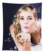 Playful Bride Blowing Bubbles At Wedding Reception Tapestry