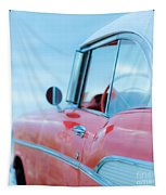 Red Chevy '57 Bel Air At The Beach Square Tapestry by Edward Fielding