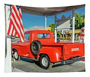 Red Dodge Pickup Truck Parked In Front Tapestry