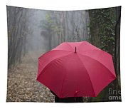 Red Umbrella In The Forest Tapestry