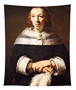 Rembrandt's Portrait Of A Lady With An Ostrich Feather Fan Tapestry