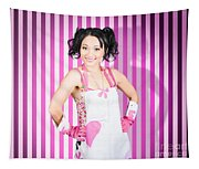 Retro Cleaning Service Maid With Smile Tapestry