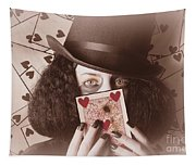 Retro Magician Holding Burnt Playing Card Tapestry
