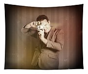 Retro Photographer Man Taking Photo With Camera Tapestry