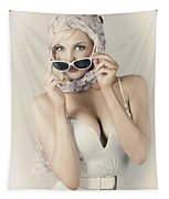 Retro Pin-up Girl In Classic Fashion Style Tapestry