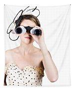Retro Woman Looking Through Binoculars Tapestry