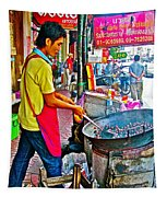 Roasting Chestnuts In China Town In Bangkok-thailand  Tapestry