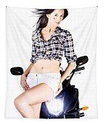 Sexy Biker Girl Tapestry