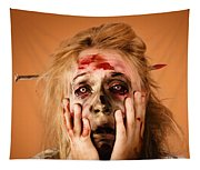 Shocked Horror Halloween Zombie With Hands Face Tapestry