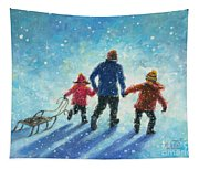 Sledding With Dad Tapestry