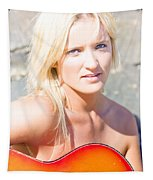Smiling Female Guitarist Tapestry
