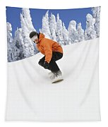 Snowboarder Going Down Snowy Hill Tapestry