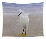 Snowy Egret At The Beach Tapestry