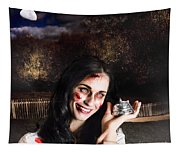 Spooky Girl With Silver Service Bell In Graveyard Tapestry
