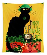 St Patrick's Day - Le Chat Noir Tapestry by Gravityx9 Designs