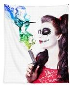 Sugar Skull Girl Blowing On Smoking Gun Tapestry