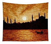 Sunset Over Istanbul Original Coffee Painting Tapestry