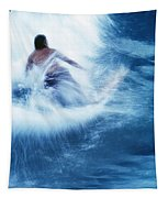 Surfer Carving On Splashing Wave, Interesting Perspective And Blur Tapestry