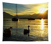 Swans In Sunset Tapestry