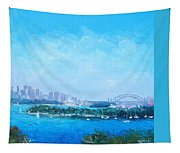 Sydney Harbour And The Opera House Cityscape View Tapestry