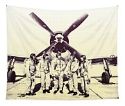 Test Pilots With P-47 Thunderbolt Fighter Tapestry